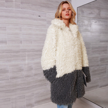 Women Winter Thicken Warm Fur Coat Elegant Patchwork Turn-down Collar Jacket Ladies Shaggy Fake Greatcoat Plus 3X 2C0230