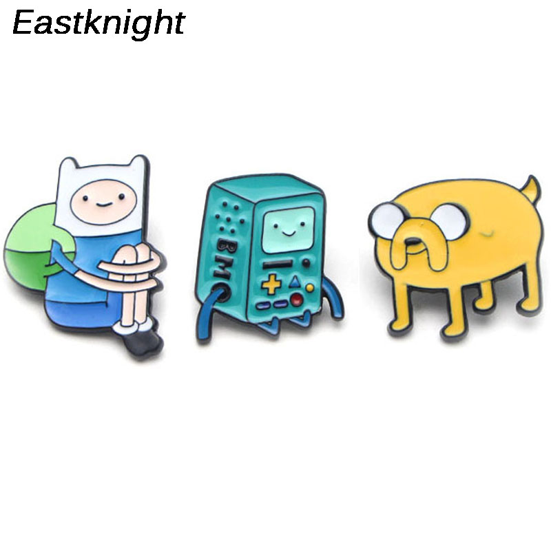 K44 Cartoon New Adventure Time Figure Pins Brooches Finn and Jake The Dog Enamel badge Kids Gift Jewelry in Brooches from Jewelry Accessories