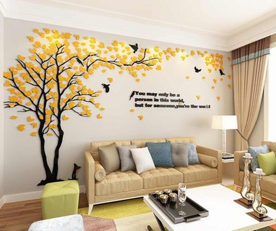 Creative Tree 3D Stereo Acrylic Wall Sticker Living Room Sofa TV Background Wall Interior Room Warm Home Decoration Accessories