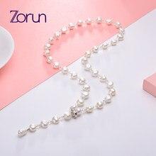 Zorun réel naturel perle d'eau douce mode/Fine chaîne de chandail collier bijoux 8-9mm pour les femmes nouveau Design