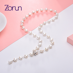 Zorun Real Natural Freshwater Pearl Fashion/Fine Sweater Chain Necklace Jewelry 8-9mm for Women New Design