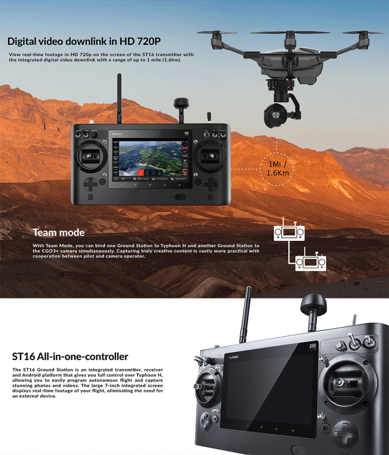 Typhoon H-480 GPS Drone 4K HD Camera Helicopter RTF 3-Axis 360° Rotation Gimbal Ultrasonic Obstacle avoidance Professional Drone