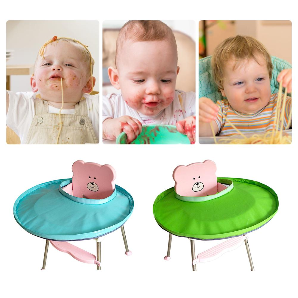 Foldable Baby Bib Kids Dining Chair Cover Solid Color Portable Eating Mats Dining Bib Tray Anti-food Drop Baby Bib For Children