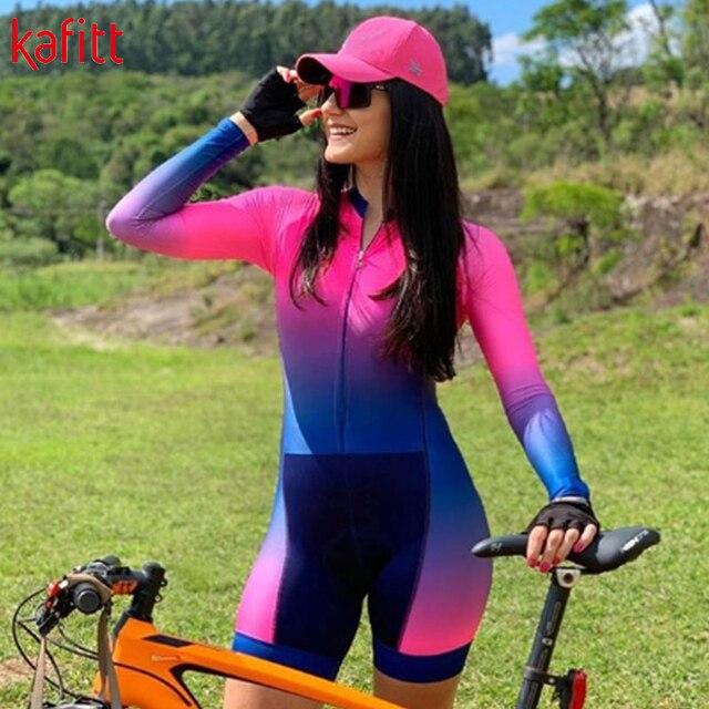 Cafete novo terno de ciclismo triathlon profissional das mulheres corrida equipe jérsei macacão manga longa apertado ciclismo terno 2