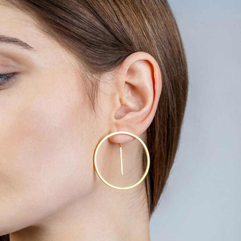 ALYXUY 2019 Simple Korean Fashion Big Round Circle Hoop Earrings for Women Geometric Ear Hoops Earring Brincos Jewelry Gift