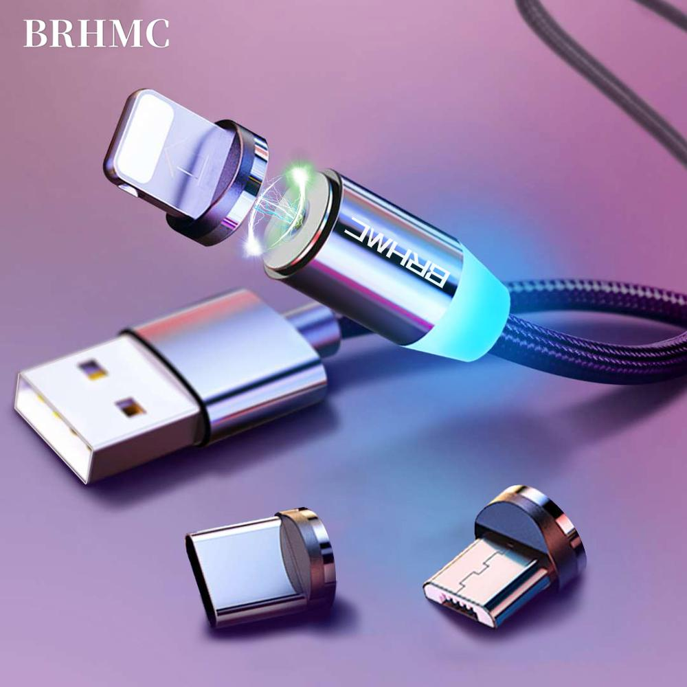 BRHMC Magnetic Micro USB Cable For iPhone Samsung Android Fast Charging Magnet Charger USB Type C Cable Mobile Phone Cord Wire(China)