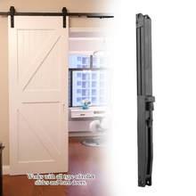 1 conjunto de corrediça da porta do amortecedor macio perto corrediças para o mecanismo acessórios da remissão da mobília do celeiro do trilho deslizante conjunto de ferragem da porta de madeira