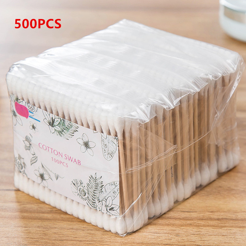 100/500pcs Natrual Double Head Cotton Swab Women Makeup Cotton Buds Tip Medical Wood Sticks Nose Ears Cleaning Health Care Tools