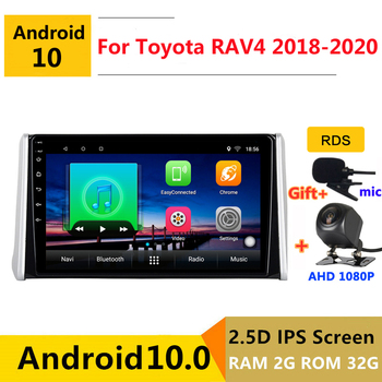10 inch Android 10 Car DVD Multimedia Player GPS For Toyota RAV4 RAV 4 2018 2019 2020 audio auto radio stereo navigation image