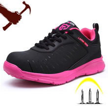 Pink Women Shoes Outdoor Work Safety Boots Steel Toe Cap Anti-smashing Sneakers With Reflective Stripe Security Shoes F65 цена