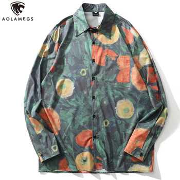 Aolamegs Men Shirt Watercolor Tree Painting Printed Full Sleeve Shirts Summer Vintage Casual Tops Cargo Streetwear