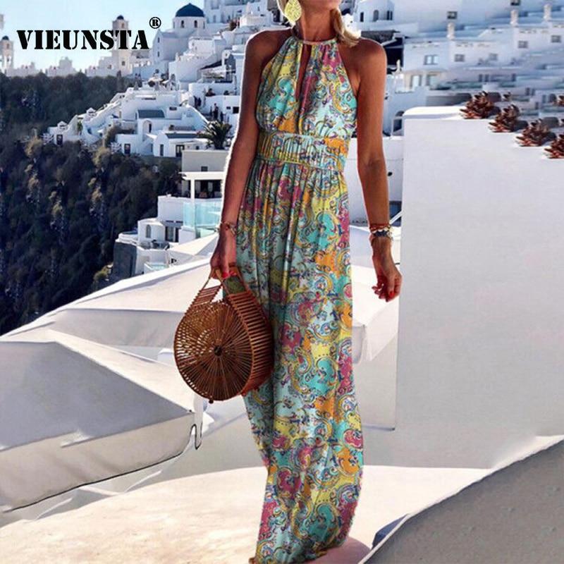 2021 Summer Boho Floral Print Long Party Dress Women Elegant Halter Sleeveless Maxi Dress Spring Backless Hollow Out Dresses 2XL