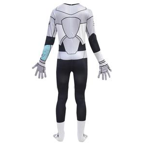 Image 2 - Anime Teen Titans Go Cyborg Cosplay Costume Bodysuit 3D Child Jumpsuit Halloween Party Costumefor Boys Girls