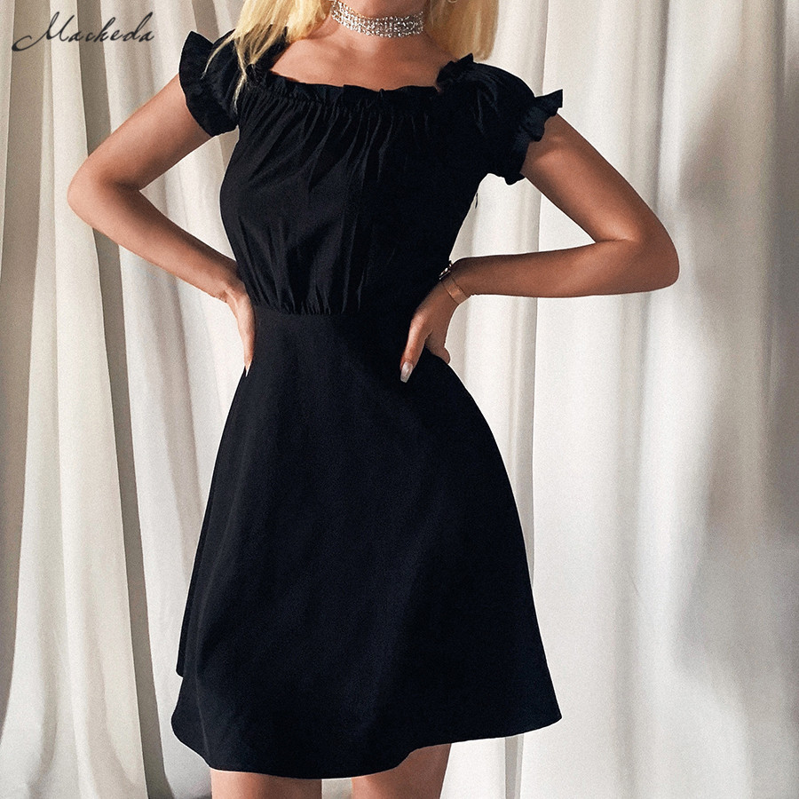 macheda woman high quality black sexy backless bandage mini dress 2020 new elegant Beach leisure vacation dress female mujer