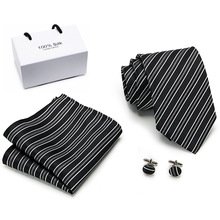 2019 Coral 8 cm Mens Ties Hanky Cufflinks Set Large Silk For Men  Black Plaid Luxury Wedding Party Necktie