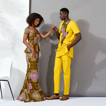African clothes for couples women long dresses set top and skirt set New Fashion Clothing Ankara Print african men bazin set