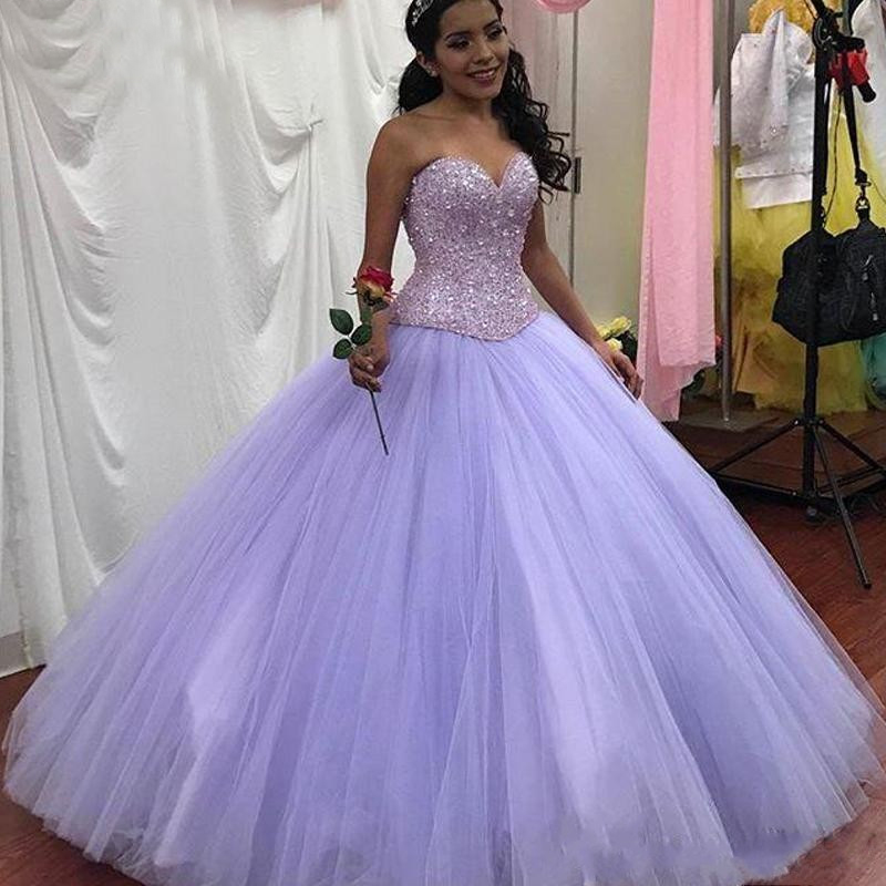 Sparkly Lavender Quinceanera Dresses Ball Gowns Sweetheart Crystals Beading Lace-Up Back Floor Length Prom Gowns Sweet 16 Dress