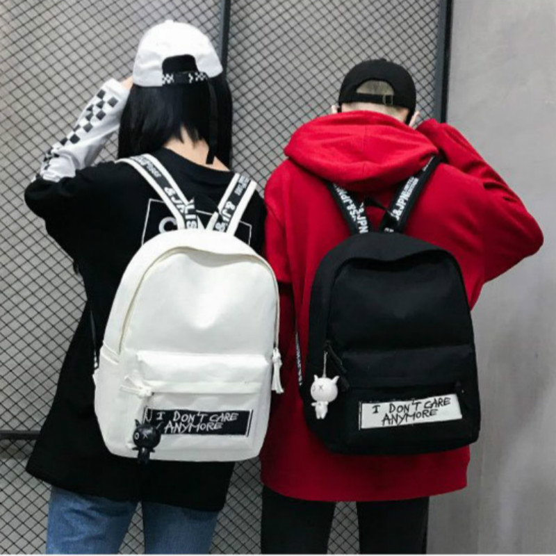 2019 New Backpack Fashion Canvas Women Backpack Doll Pendant Travel Women Shoulder Bag Harajuku Backpack Female School Bags