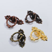 10Pcs/Set Antique Home Decoration Metal Small handle Furniture Decor Surface Mounted Drawer Cabinet Door Pull Handle with Screw