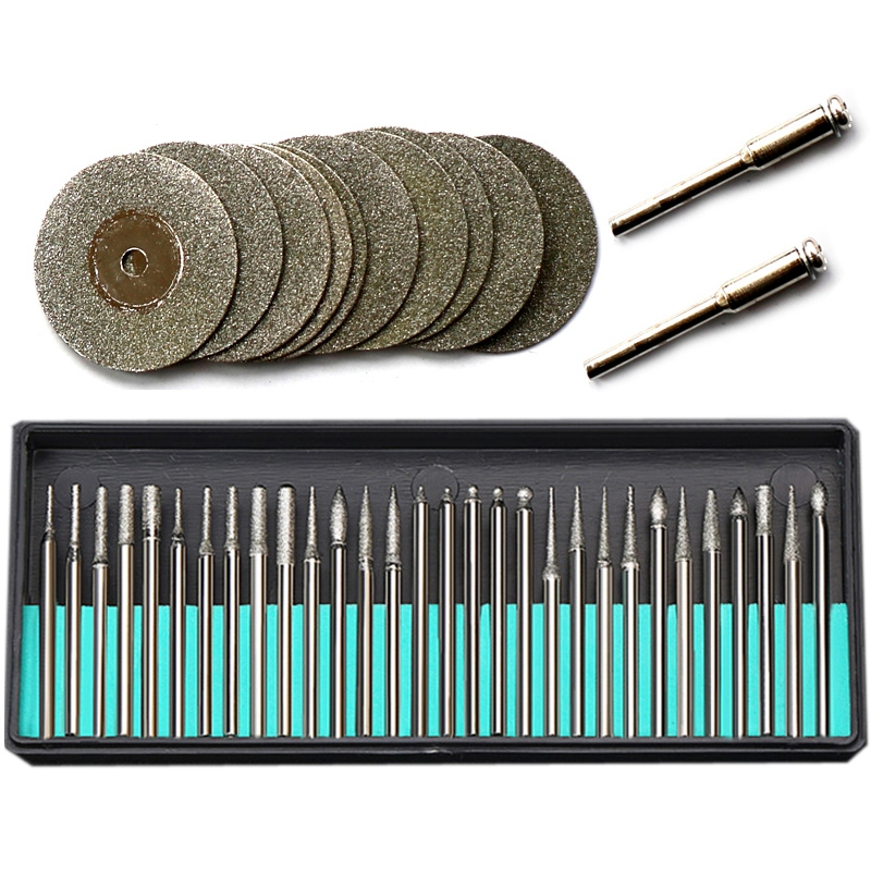 Top-For Dremel Accessories Rotary Tools 30Pcs Diamond Burs 12Pcs Diamond Saw Blades Mini Cutting Discs Drill Bits For Dremel Too