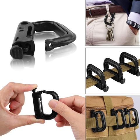 16Pcs/lot Tactical Gear Clips Molle Attachments Elastic String Strap 360 Rotation D-Ring Clips Accessory for Pouch Bags Backpack Lahore