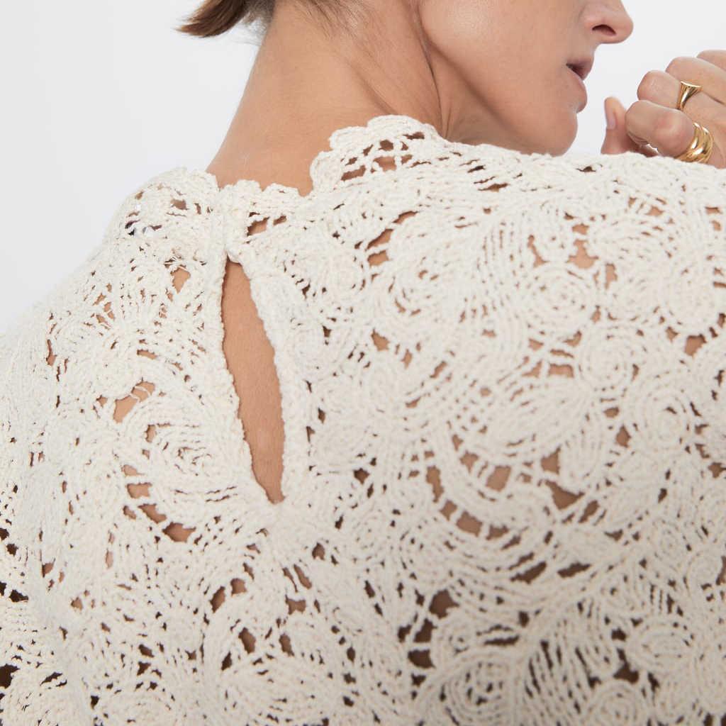 2019 ZA модный однотонный вязаный ажурный свитер Wpmen осенняя одежда трендовые Повседневные вязаные пуловеры с круглым вырезом оптовая продажа
