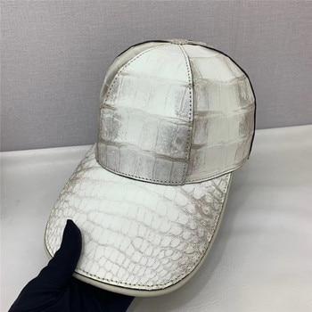 Authentic Real True Crocodile Skin Men's Casual Chic Baseball Cap Genuine Alligator Leather Male Adjustable Hip-hop Snapback Hat