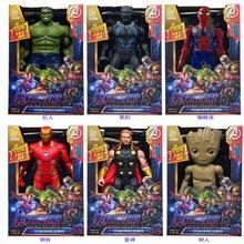 Dźwięk i światło figurka Avengers Marvel 30CM Spiderman czarna pantera Iron Man Hulk kapitan ameryka Thor Thanos chłopiec prezent tanie tanio Disney Model Unisex No Fire Remastered version Dorośli 5-7 lat 8-11 lat 12-15 lat Urządzeń peryferyjnych Zachodnia animiation