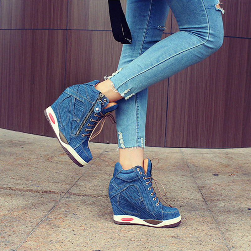 Big Size Women Denim Wedges Sneakers Autumn Platform Casual Shoes Fashion Woman Side Zipper Vulcanized Shoe Thick Bottom Sneaker 4
