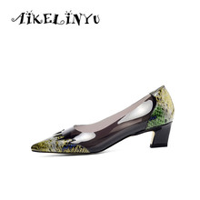 AIKELINYU Fashion Womens Pumps Spring Transparent Serpentine Handmade Genuine Leather Shoes Women Pointed End Lady Office