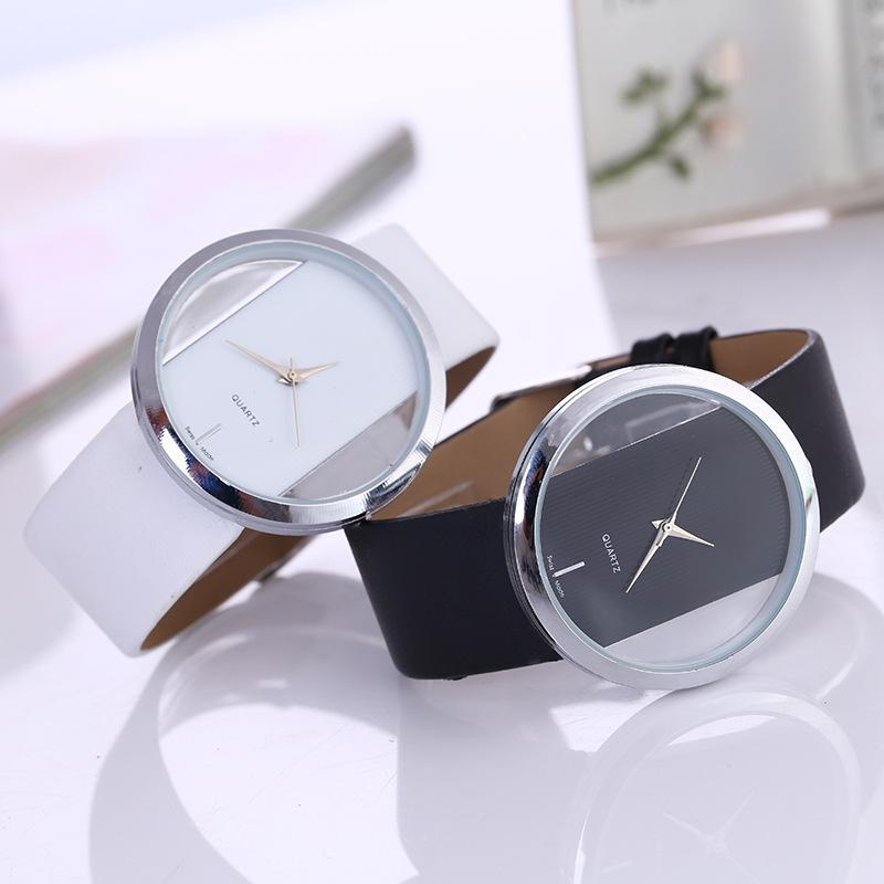 Leather Quartz Watch reloj mujer Ransparent Dial Lady Watches Women Luxury Round Dress Watch relojes para mujer Clock Top Brand