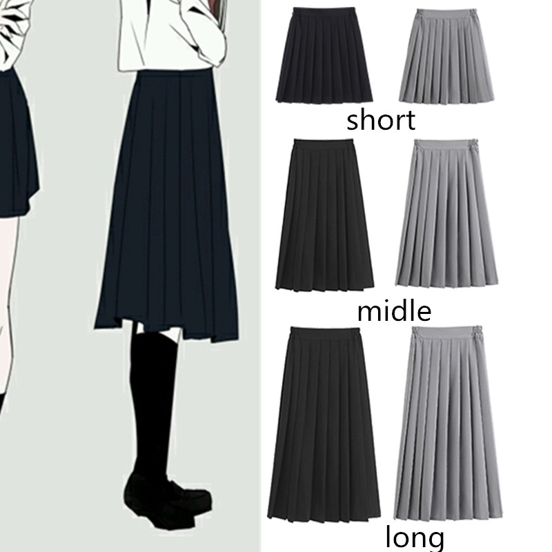 41/63/75cm Women Summer A-line Pleated Skirt Japanese High School Cute Preppy Style High Waist Plus Size Uniform Skirt