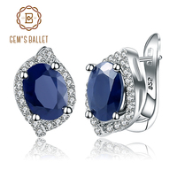 Gem's Ballet 3.26C Natural Blue Sapphire Gemstone Vintage Stud Earrings 925 Sterling Silver Fine Jewelry For Women Drop Shipping
