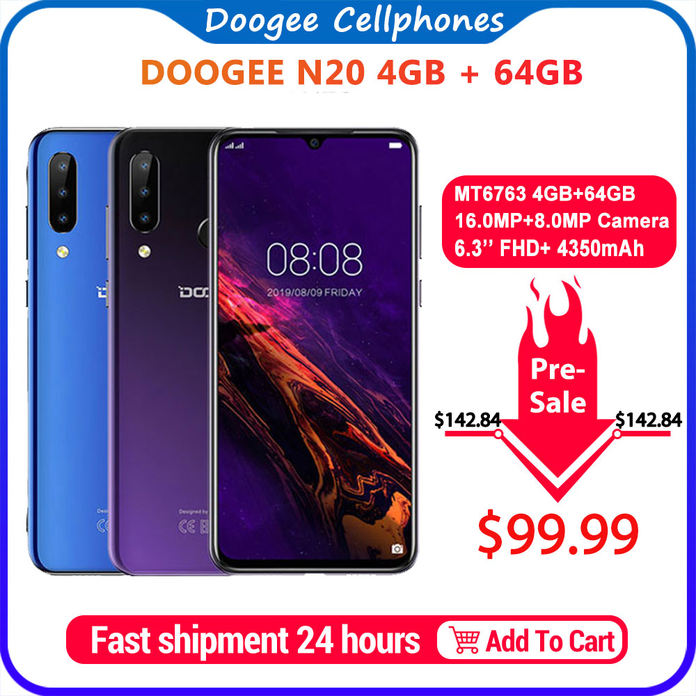 Doogee n20 mobilephone impressão digital 6.3 polegada fhd + display 16mp triplo voltar câmera 64 gb 4 gb mt6763 octa núcleo 4350 mah celular lte