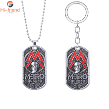 PC Game Metro Exodus 2033 Metal Necklace Man Charm Souvenir Tag Mode Games  Gift game metro 2033 keychain letter metro exodus skull dog tag pendant key chain for men car keyring llaveros jewelry