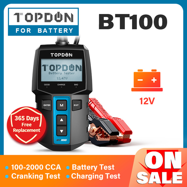 TOPDON BT100 Car Battery Tester 12V 100 2000 CCA  Auto Batteri Analyzer Test Load Capacity Testing for Car Truck Motorcycle