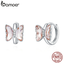 bamoer Silver Butterfly  Ear Buckle 100% 925 Sterling Silver Colorful CZ Vivid Earrings Gift for Girl Fashion Jewelry SCE1105