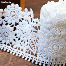 2 Yards 9cm Width Floral White Wide Lace Trim Ribbon Tape Embroidered Lace DIY For Sewing Dress Decor Textile Lace Trimmings 3meters embroidered eyelash lace ribbon black white wedding dress lace trim sewing width 9cm clothing accessories lace material