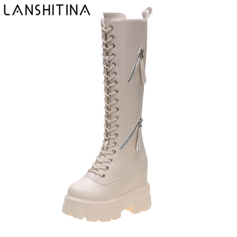 New Winter Women Knee High Boots Wedges High Heels 11CM Platform Lace up Long Boots Plush Inside Warm Fur Shoes Motorcycle Boots