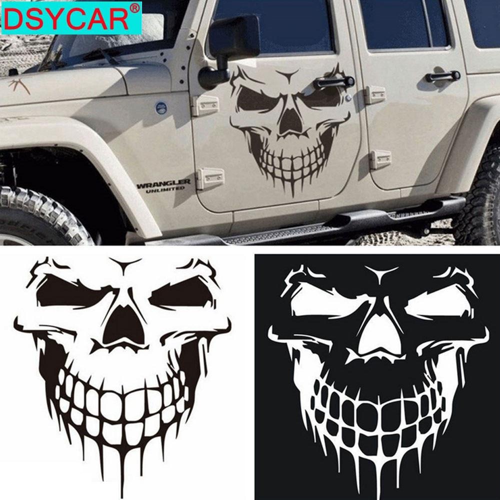 DSYCAR, 1 шт., большой размер, 59х53см, автомобильные наклейки с черепом и наклейки, отражающие виниловые автомобильные Стайлинг, авто, двигатель, ...