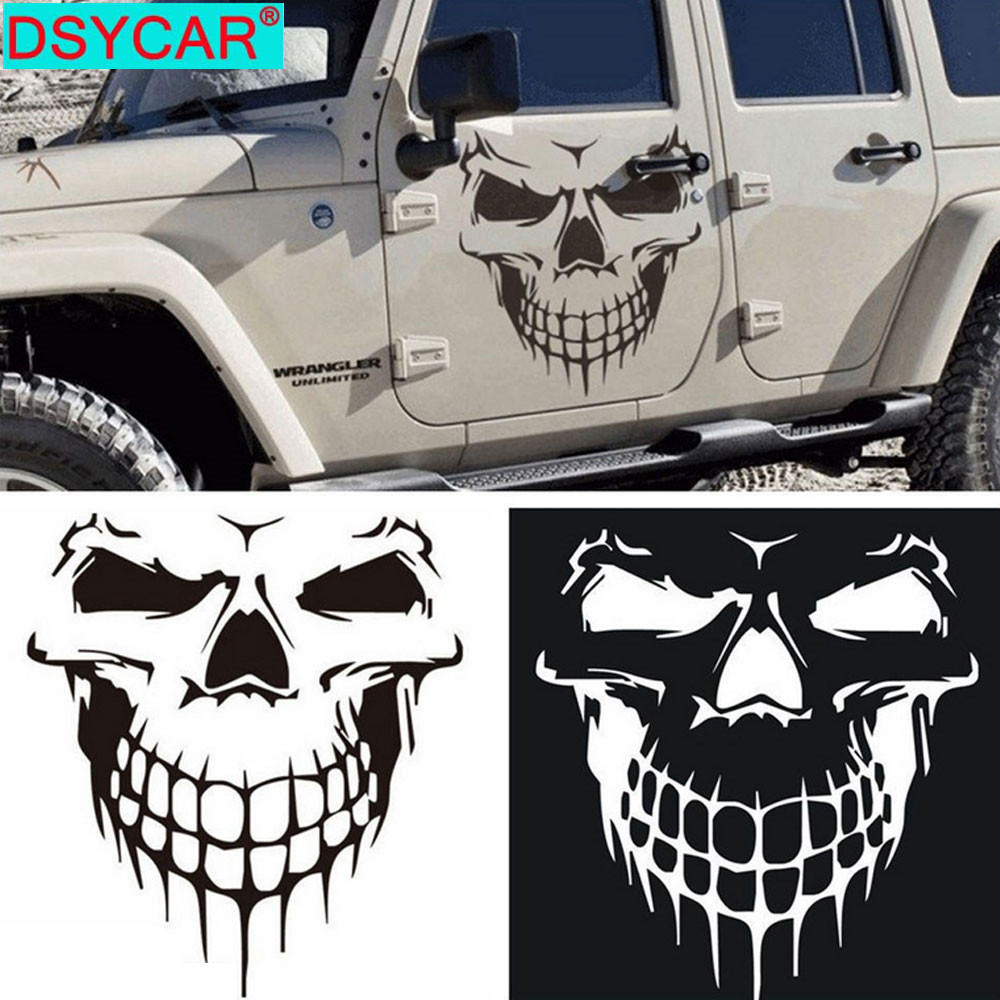 DSYCAR 1Pcs Large Size 59X53CM Skull Head Car Stickers and Decals Reflective Vinyl Car Styling Auto Engine Hood Door Window Car