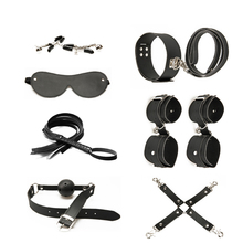 Adult leather Exotic Accessories 8 pieces set of mouth plug handcuffs whip collar eye mask BDSM game sex toys for couples