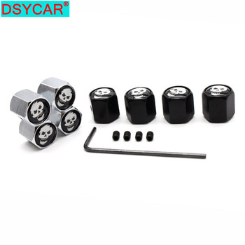 DSYCAR Car Styling Zinc Alloy Anti-theft Smiling Skull Logo Car Tire Valve Caps Wheel Tires Tire Stem Air Cap Airtight Covers image
