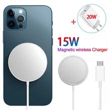 Bezprzewodowa ładowarka magnetyczna 15W dla iPhone 12 Pro Max 12Mini dla Magsafe type-c szybkie ładowanie szybkie 20W ue wtyczka amerykańska ładowanie bezprzewodowe tanie tanio EOENKK USB PD CN (pochodzenie) Typ C Pulpit 15W Fast Wiress Charging AW-Magface Used With iPhone