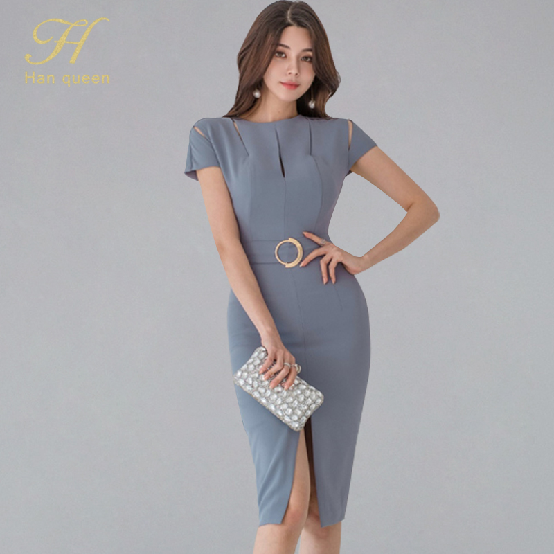 H han queen Backless <font><b>Sexy</b></font> Vestidos Elegant Slim Occupation <font><b>Dresses</b></font> Hollow Out High Waist Knee-length Sheath <font><b>Bodycon</b></font> <font><b>Dress</b></font> <font><b>Women</b></font> image