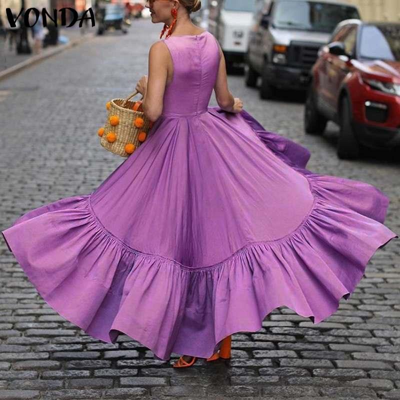 VONDA Party Dress Women Summer Sexy Sleeveless Solid Color Elegant Dresses Plus Size Bohemian Beach Sundress Asymmetric Vestidos