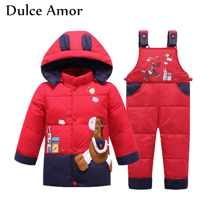 Dulce Amor Winter Kids Warm Down Jacket Set Fish Pattern Snowsuit Parkas + Romper For Baby Boy Girl -30 Degree Outerwear