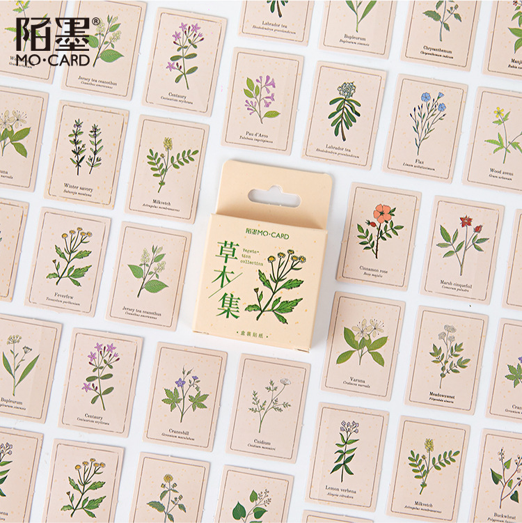 46 Pcs/set Vegetation Collection Paper Sealing Stickers Scrapbooking DIY Bullet Journal Sticker Decorative Diary Stationery