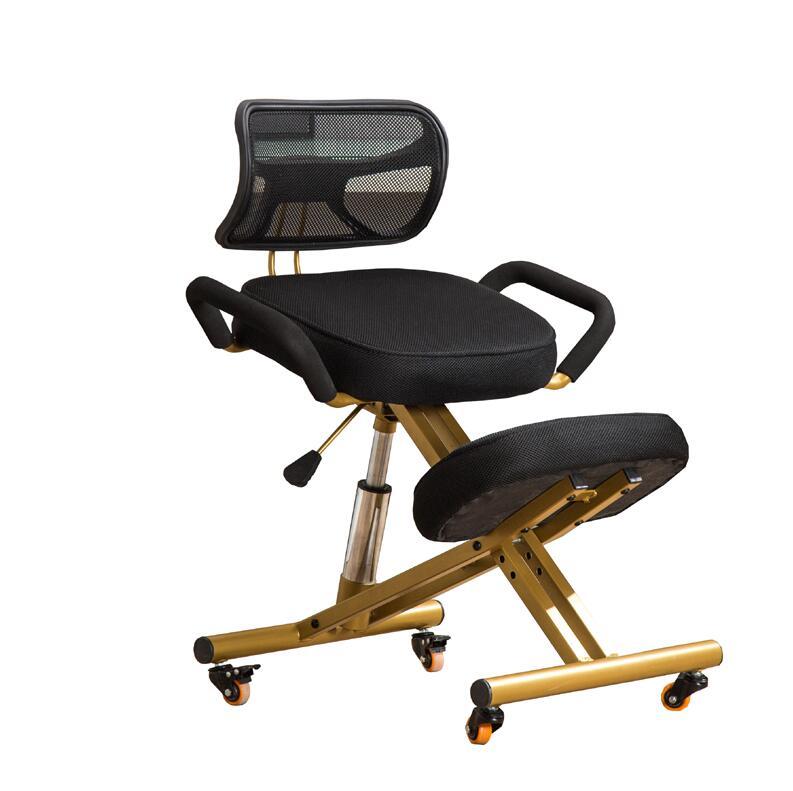 人間工学的にひざまずく椅子 W/バック & ハンドル & キャスターメッシュ生地クッションシートオフィスコンピュータ膝人間工学姿勢椅子 -