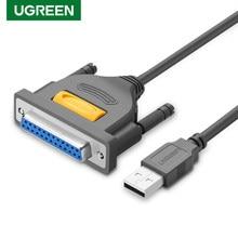 Ugreen USB yazıcı kablosu USB 2.0 DB25 yazıcı kablosu erkek erkek tel paralel LPT yazıcı kablosu 25Pin seri adaptör